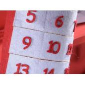 Calendar Advent Craciun model soseta rosu alb cm 28 x 50 H