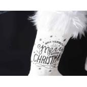 Ciorap decorativ Craciun alb Merry Christmas 12 cm x 19 h