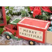 Masina lemn mesaj Craciun cm 25 x 8 x 11 H