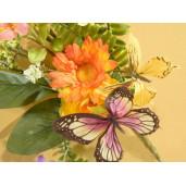 Crenguta artificiala flori portocalii si fluturasi 42 cm