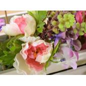 Buchet flori artificiale peonia roz somon 24 cm