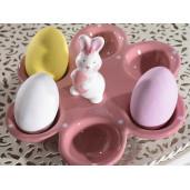 Platou Paste Iepuras 6 oua ceramica roz cm 17 cm x 15 cm x 7 H