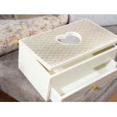 Cutie bijuterii lemn alb cu sertar oglinda cm 20 x 13 x 8,4 H