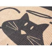 Covoras intrare casa antiderapant iuta cauciuc negru crem Lover Cat 60 cm x 40 cm