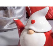 Ceainic ceramic rosu alb Spiridus 470ml