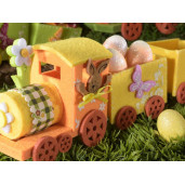 Trenulet decor Iepuras textil portocaliu cm 27 x 7 cm x 10 H