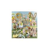 Figurina Iepuras Paste Boy textil fibre naturale 25 cm x 22 cm x 67 h