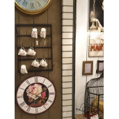 Ceas de perete lemn retro cu model Roses Ø 60 cm x 4 cm
