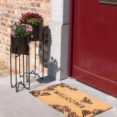 Covoras intrare casa antiderapant fibre cocos cauciuc maro Welcome 75 cm x 45 cm