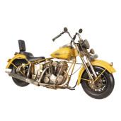 Macheta motocicleta retro metal galben antichizat 41 cm x15 cm x 24 cm