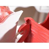 Sanie decorativa Craciun lemn rosie cm 14x31x19H