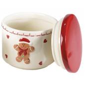 Borcan Craciun ceramic decorativ dublu model Turta Dulce Ø cm 13 x 20 H