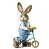 Figurina Iepuras Paste fibre naturale cu bicicleta Boy cm 19 x 12 x 36,5H