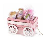 Carucior decorativ lemn roz cm 24 x 13 cm x 15 H