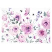 Fata de masa bumbac alb roz Roses 150 cm x 150 cm
