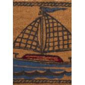 Covoras intrare antiderapant fibre cocos model Barca 75 cm x 45 cm