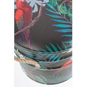 Taburet cu spatiu depozitare piele ecologica Forest Ø36 cm x 44 h