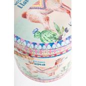 Taburet cu spatiu depozitare piele ecologica Lama Ø 27 cm x  32 h