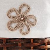 Cos depozitare din rattan textil maro Lily 55 cm x 30 cm x 33H