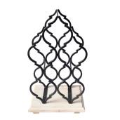 Suport fier forjat negru 5 sticle vin Chateau des Bruges 23x20x39 cm