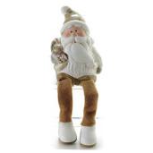 Figurina Mos Craciun picioare textil Brown