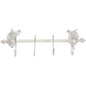 Cuier fier forjat alb vintage 4 agatatori 49 cm x 12 cm x 14 cm